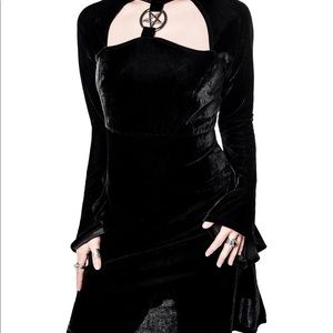 Killstar black Velvet pentagram Dress XS Goth